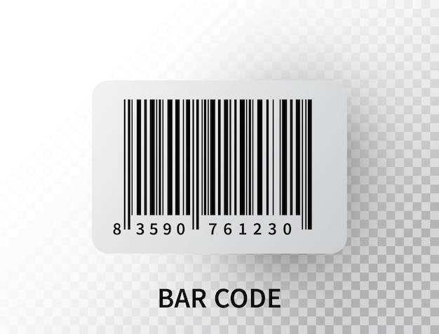Realistic bar code isolated. black tracking barcode with numbers.