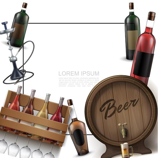 Реалистичный шаблон элементов бара с рамкой для текста, винные бутылки, бокалы, кальян, деревянная бочка пива