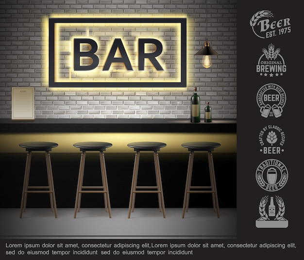 Realistic bar interior template with bottles of alcoholic drinks on counter menu neon signboard chairs and brewery labels