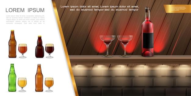 カウンターにカクテルとアルコール飲料のボトルと現実的なバーやパブのコンセプト