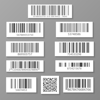 Realistic barcode icon set