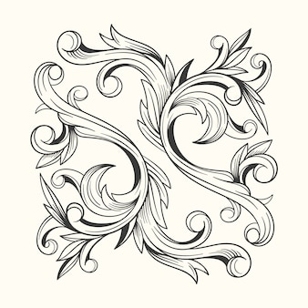 Realistic baroque style hand drawn ornamental border