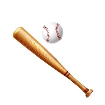 Realistic baseball bat and ball wooden sticks for baseball design Premium Vector