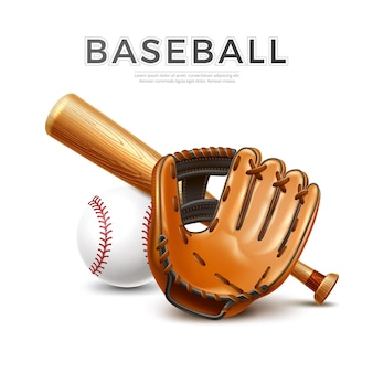 Realistic baseball bat leather glove and ball for sport design