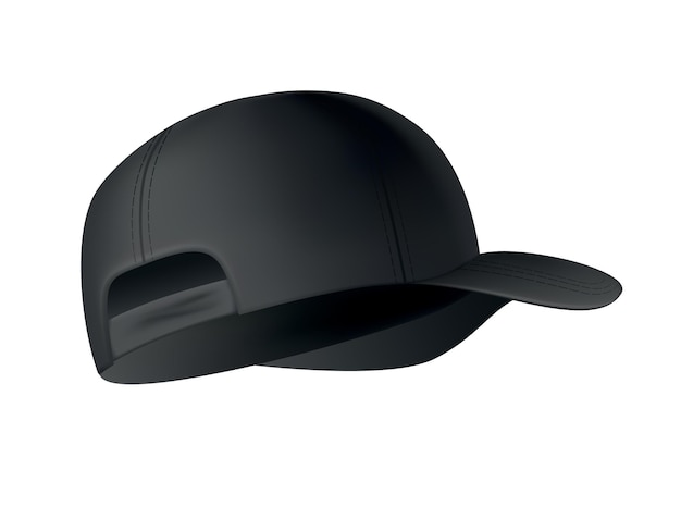 Realistic baseball cap on white, side view.