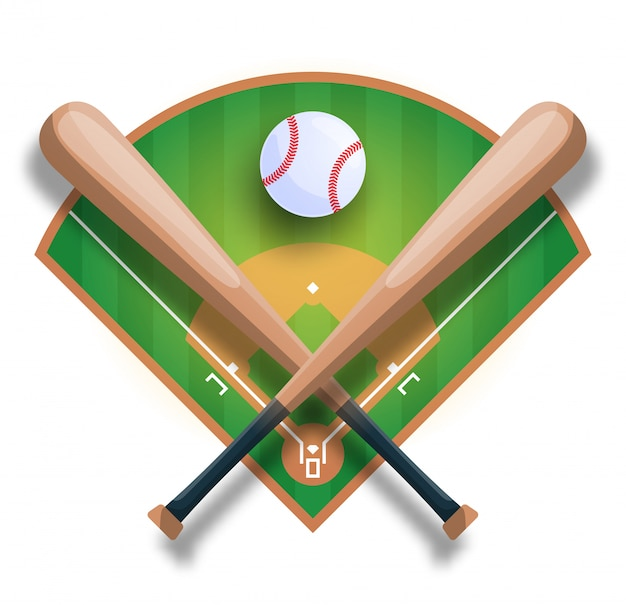 Realistic baseball concept with baseball crossed bat, ball and filed.  sport iilustration