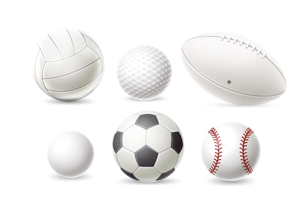 Realistic baseball golf volleyball rugby soccer and football ball set athletic equipment