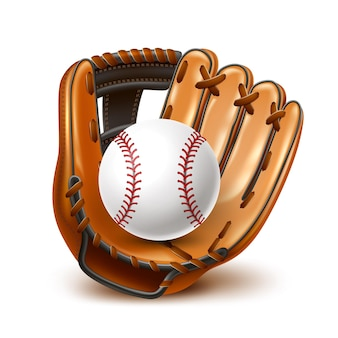 Realistic baseball leather glove and ball for championships promotion