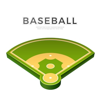 Realistic baseball playground 3d icon