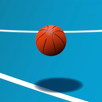 Realistic basketball ball on blue court in hip action
