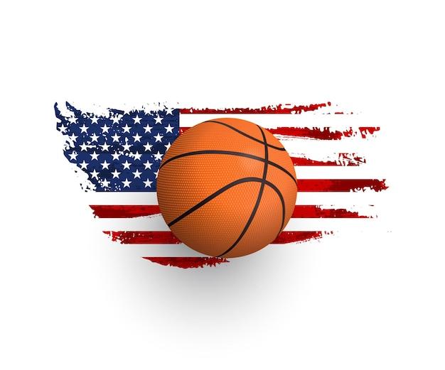 Реалистичный баскетбольный мяч на флаге сша гранж