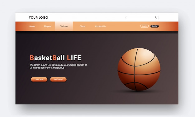 Реалистичная баскетбольная посадочная страница