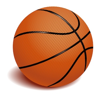 Realistic basketball object on white background