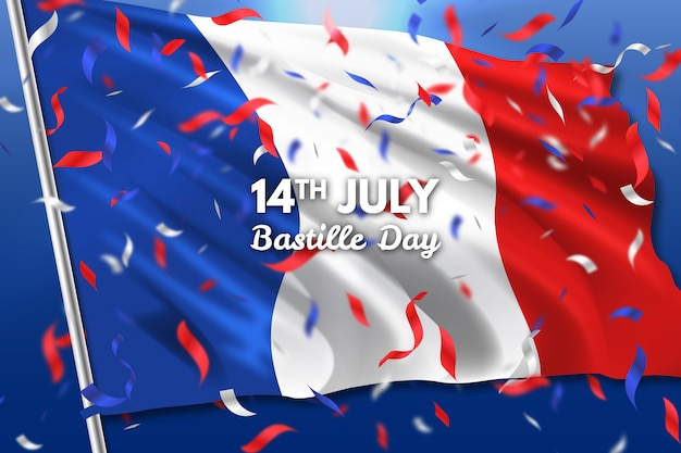 Realistic bastille day background