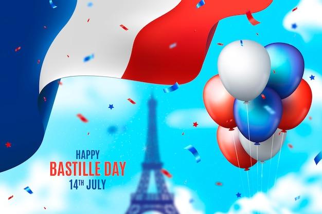 Realistic bastille day illustration