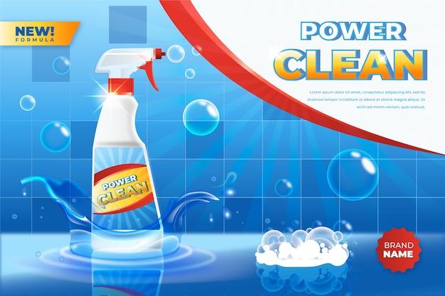 Annuncio realistico del prodotto per la pulizia del bagno