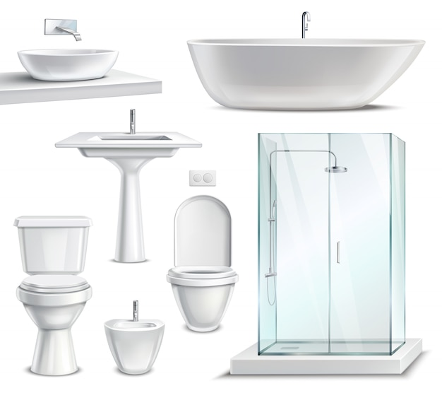 Realistic bathroom furniture set
