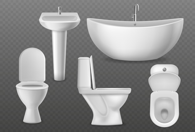 Realistic bathroom objects.