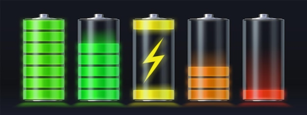 Realistic battery charging empty to full energy level. glowing smartphone accumulator load icon with lightning. charge indicator vector set. gadget interface refill and capacity illustration