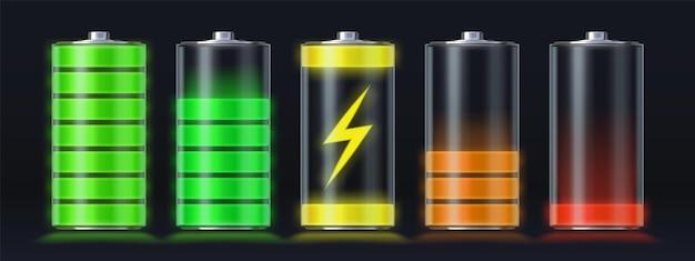최대 에너지 수준까지 비어 있는 현실적인 배터리 충전. 번개가 있는 빛나는 스마트폰 누산기 로드 아이콘. 충전 표시기 벡터 집합입니다. 가제트 인터페이스 리필 및 용량 그림