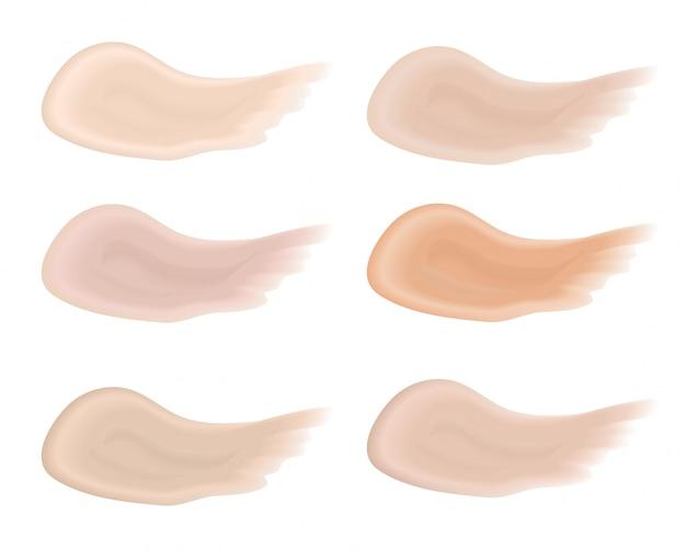 Реалистичные bb мазки набор. разноцветная палитра брызгает тон кожи, основа макияжа. изолированные на белом фоне