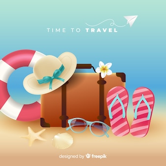 Realistic beach elements travel background