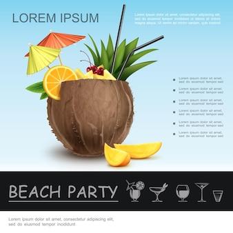Реалистичная концепция пляжной вечеринки со свежим кокосовым коктейлем, украшенным дольками апельсина манго, зелеными листьями, палочками и зонтиками