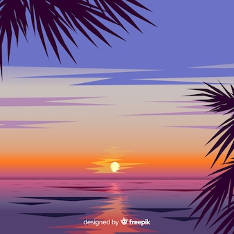 Realistic beach sunset landscape