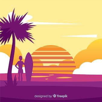 Realistic beach sunset landscape