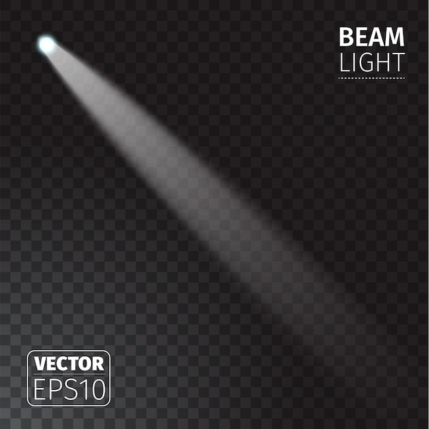 透明な背景に現実的なビームが点灯します。