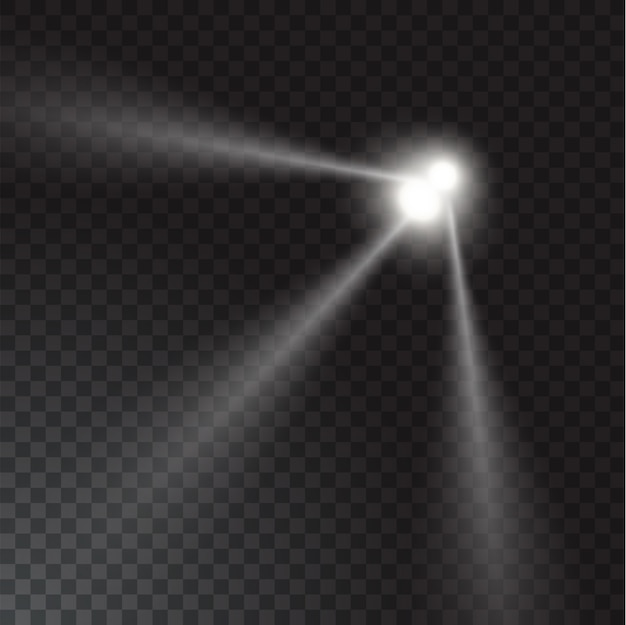 Realistic beam lights on transparent background.