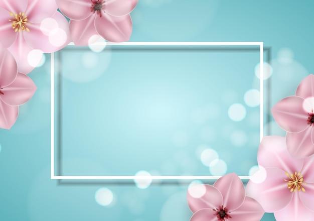 현실적인 아름 다운 3d sprind 및 여름 핑크 꽃 배경.
