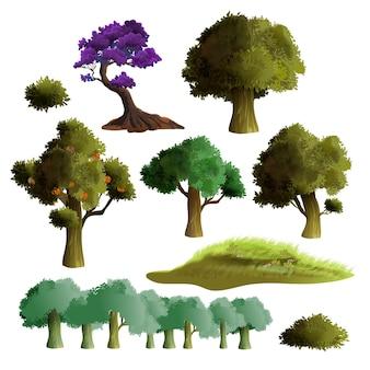現実的な美しい木々や茂みのセット。夏の木のコレクション。緑の芝生、巨大な葉とリンゴの木。白い背景で隔離されました。