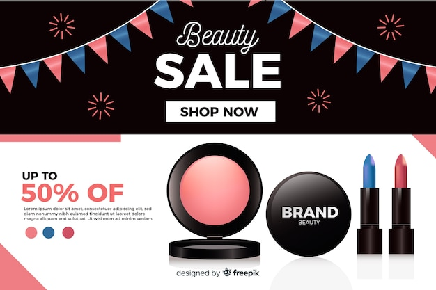 Realistic beauty sale ad template