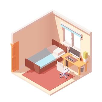 Реалистичный интерьер спальни.