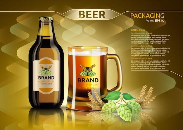 Реалистичная бутылка пива и стекло. шаблон упаковки бренда. дизайн логотипов. золотые фоны
