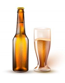 Реалистичная пивная бутылка, бокал