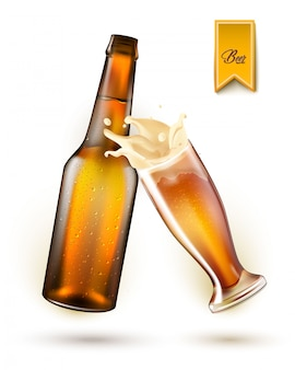 Реалистичная бутылка пива, брызги из стекла