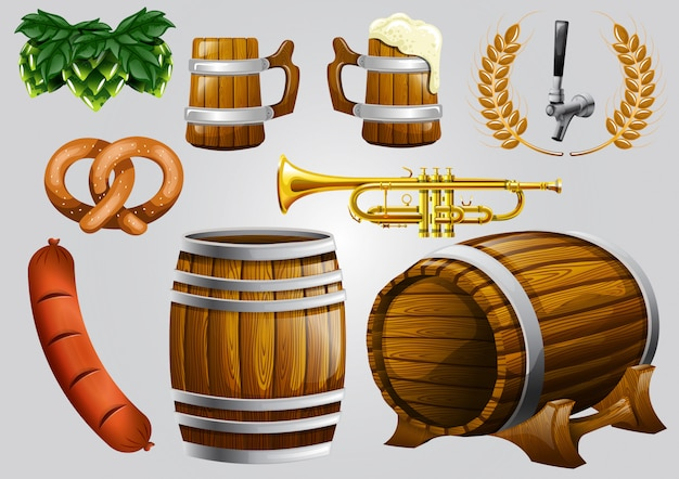 Realistic beer element stock vector set