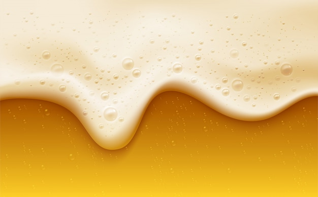 Realistic beer foam with bubbles