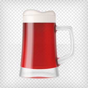 Realistic beer glass mug with red beer and foam