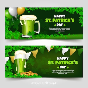 Realistic beer st patrick's banner