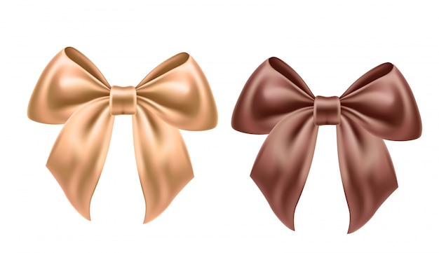 Realistic beige and brown satin bow for celebration holiday