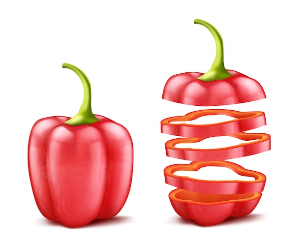 Realistic bell pepper or bulgarian, whole and sliced, isolated on background.