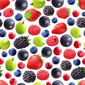 Realistic berries seamless pattern