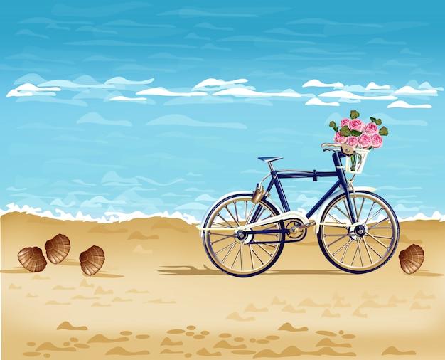 Реалистичный велосипед на пляже