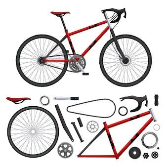 Realistic bicycle parts set of isolated bike elements and built-up model illustration