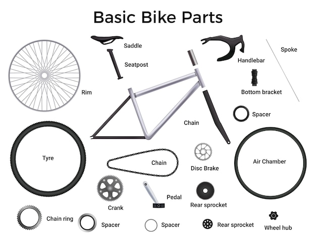Realistic bicycle parts set with isolated illustration