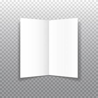 Realistic bifold paper brochure with soft shadows. booklet template.
