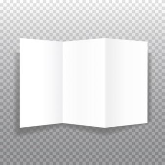 부드러운 그림자와 투명 한 배경에 현실적인 bifold 종이 브로셔. 화이트 오픈 소책자 템플릿입니다.